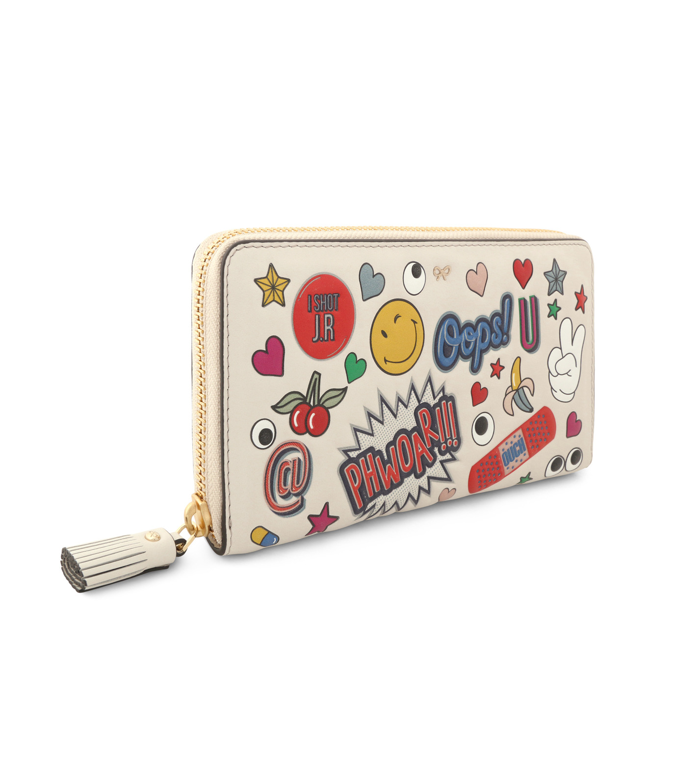 Anya Hindmarch(アニヤハインドマーチ)のLarge Zip Round Wallet All Over Wink-WHITE-924306-5 拡大詳細画像2