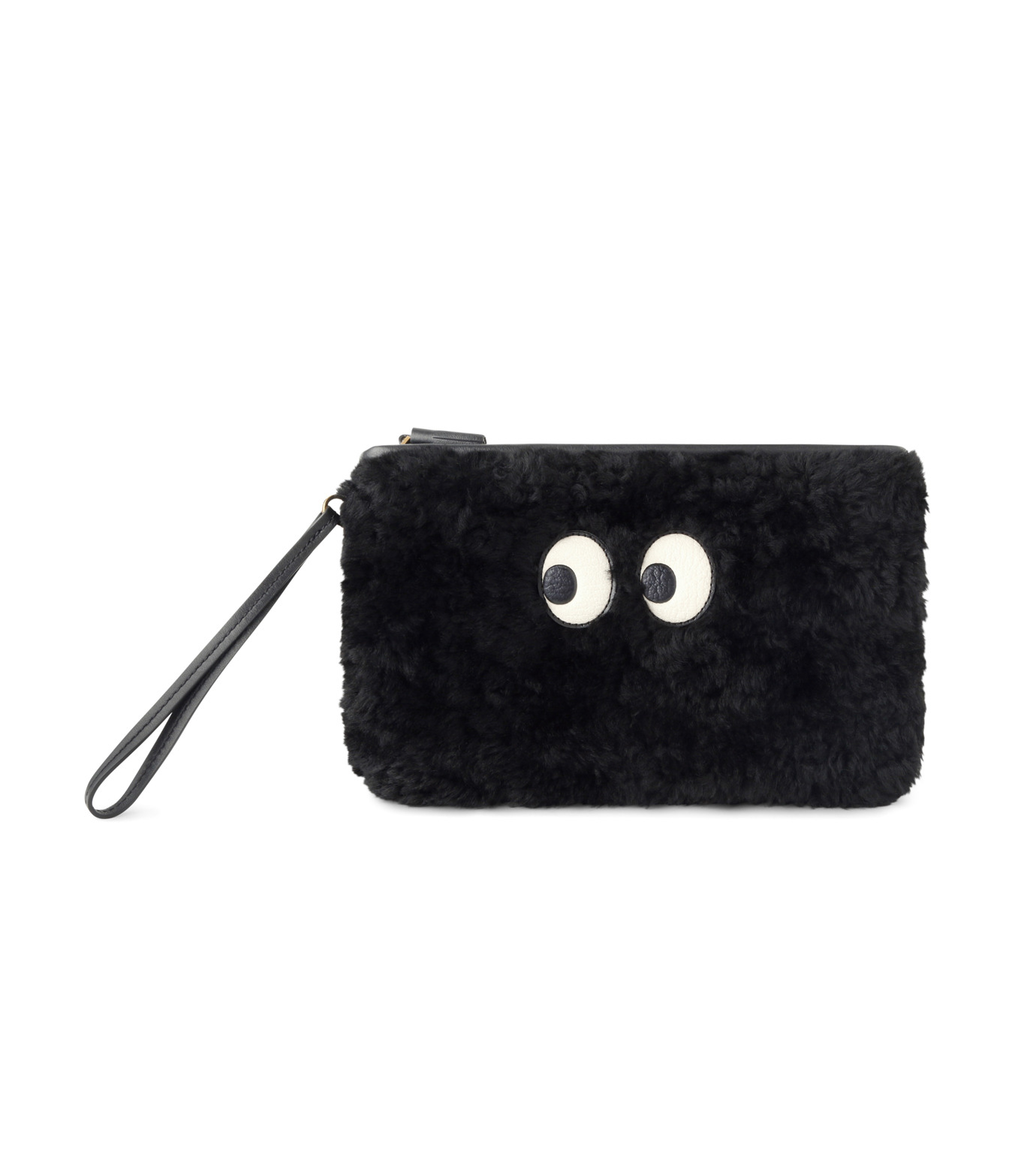 Anya Hindmarch(アニヤハインドマーチ)のZip Top Pouch Ghost Shearling-BLACK-933841-13 拡大詳細画像1