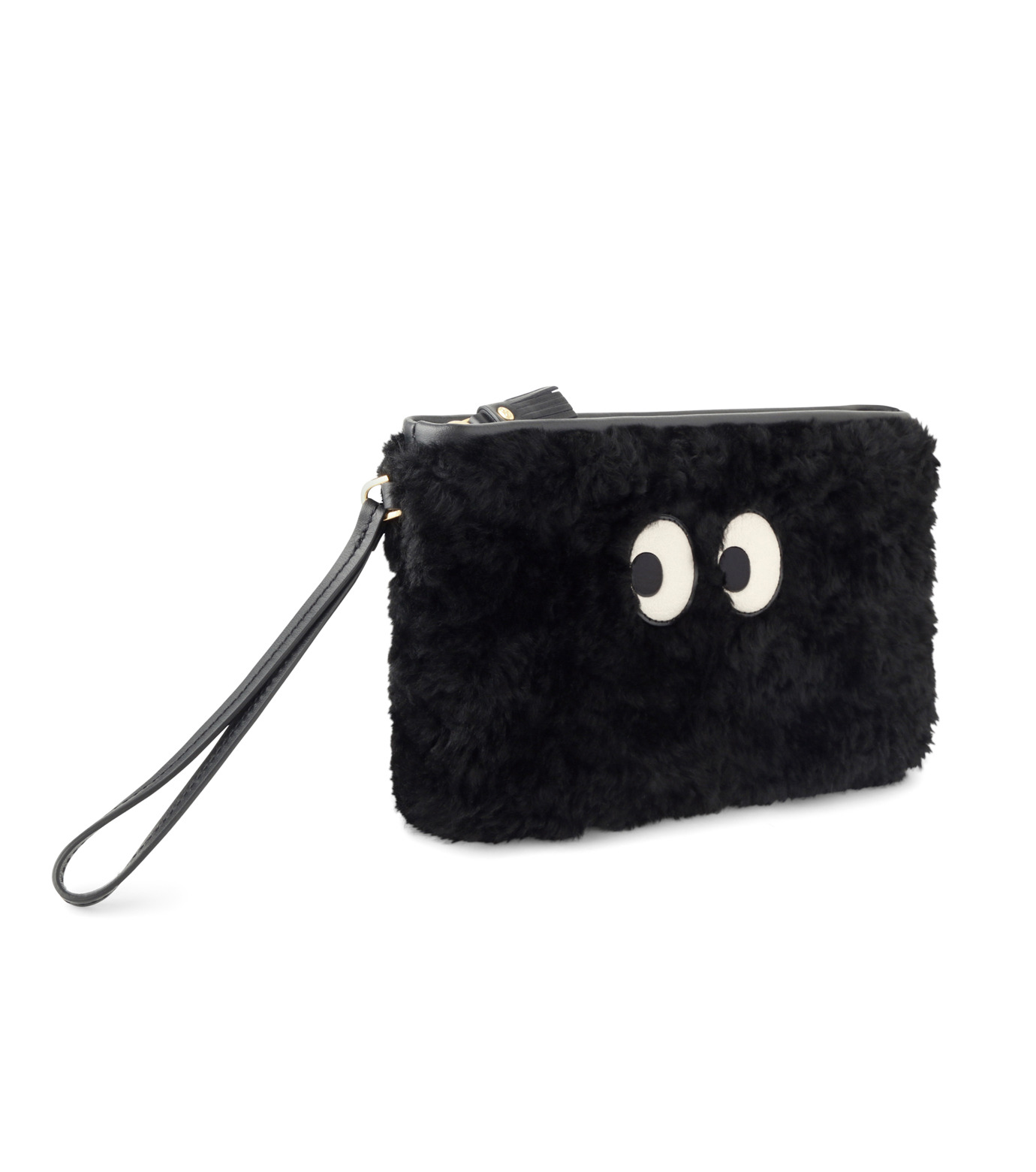 Anya Hindmarch(アニヤハインドマーチ)のZip Top Pouch Ghost Shearling-BLACK-933841-13 拡大詳細画像2
