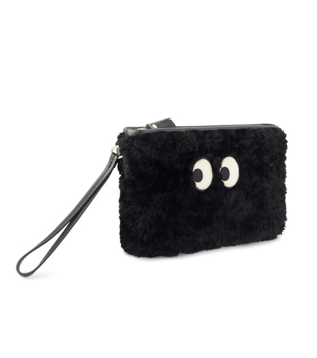 Anya Hindmarch(アニヤハインドマーチ)のZip Top Pouch Ghost Shearling-BLACK-933841-13 詳細画像2