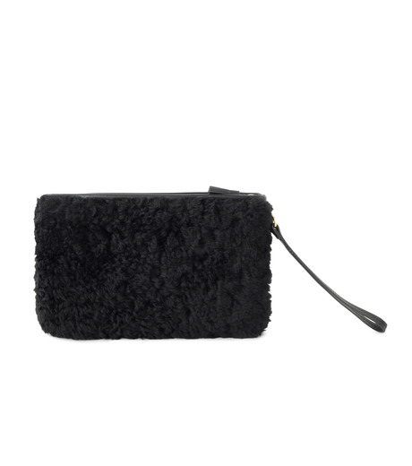 Anya Hindmarch(アニヤハインドマーチ)のZip Top Pouch Ghost Shearling-BLACK-933841-13 詳細画像3