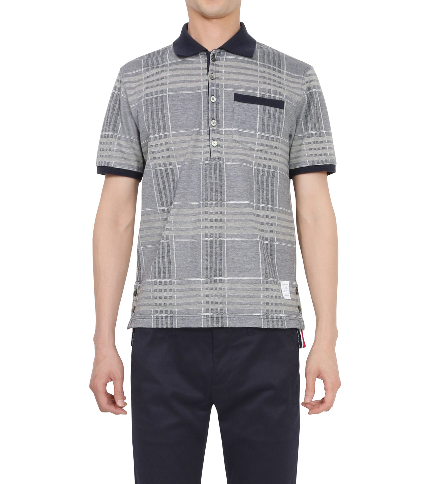 Thom Browne(トムブラウン)のCheckpolo-NAVY(カットソー/cut and sewn)-A0163C10070-93 拡大詳細画像1