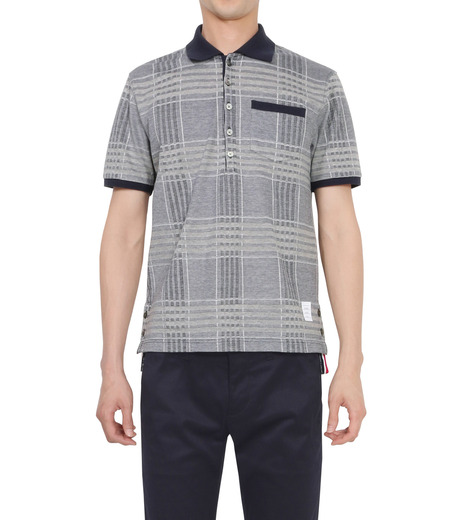 Thom Browne(トムブラウン)のCheckpolo-NAVY(カットソー/cut and sewn)-A0163C10070-93 詳細画像1