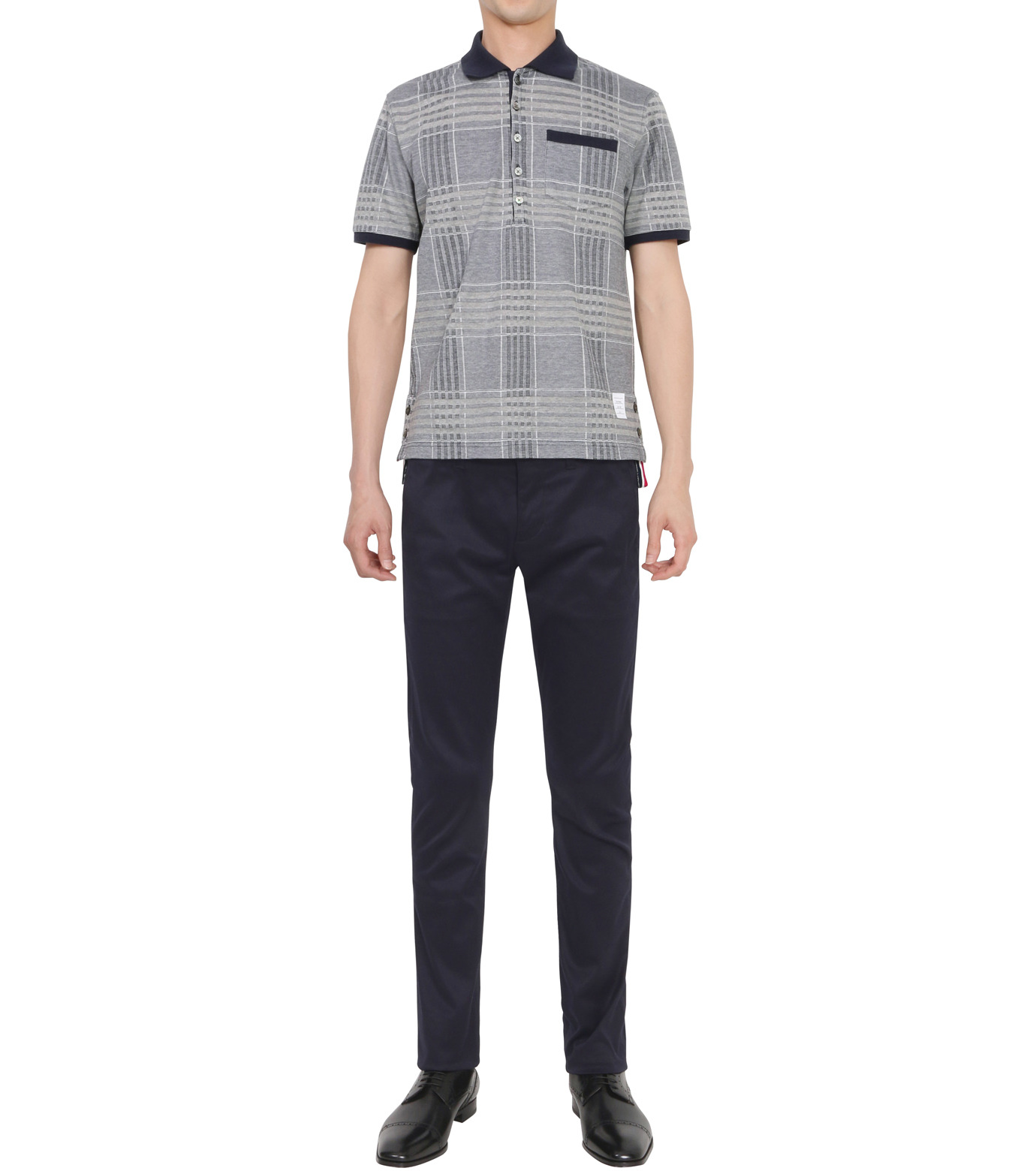 Thom Browne(トムブラウン)のCheckpolo-NAVY(カットソー/cut and sewn)-A0163C10070-93 拡大詳細画像3
