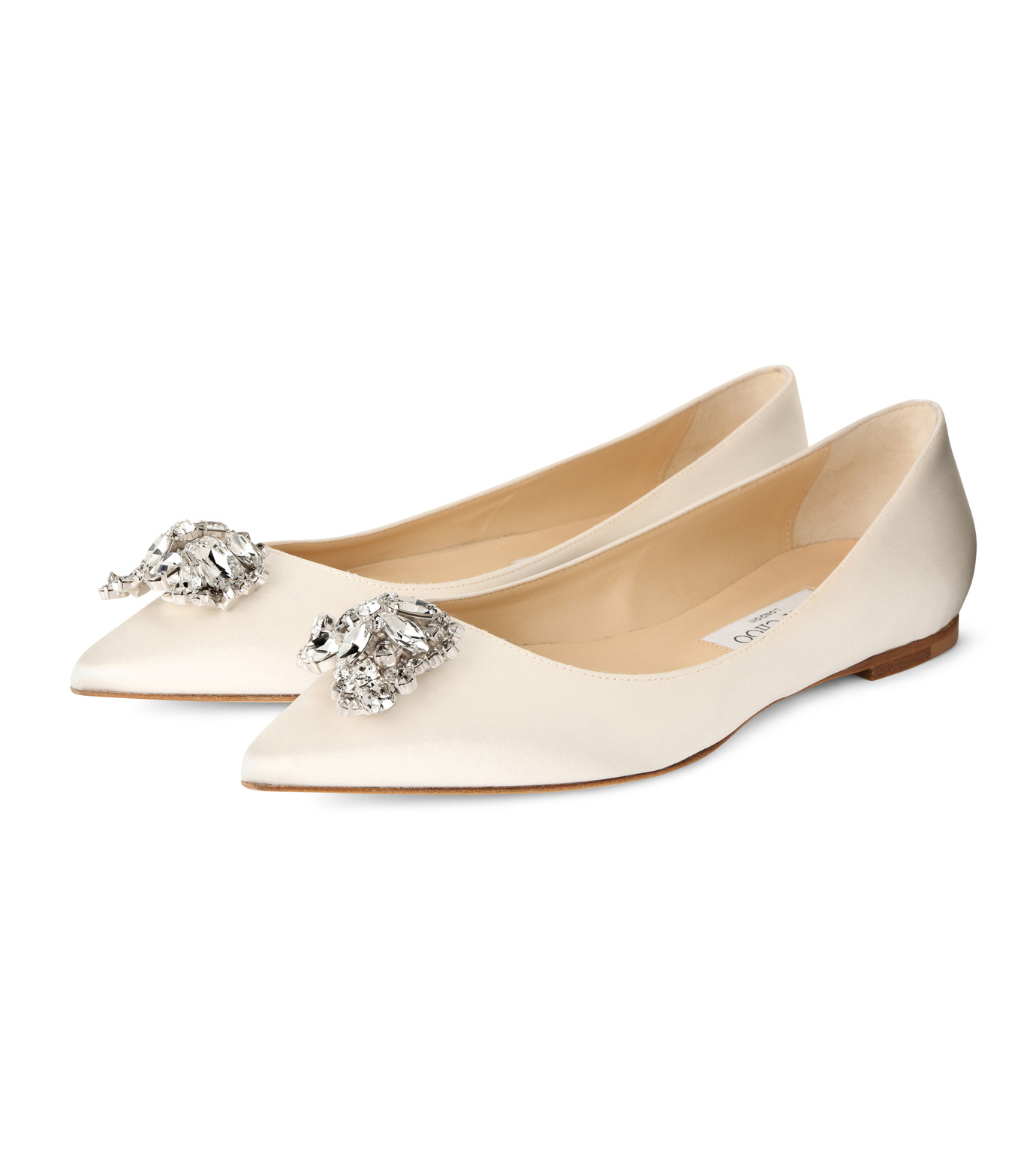 Jimmy Choo(ジミーチュウ)の010STV Satin Flat w/Crystal Brooch-WHITE(フラットシューズ/Flat shoes)-ALINA-5 拡大詳細画像3
