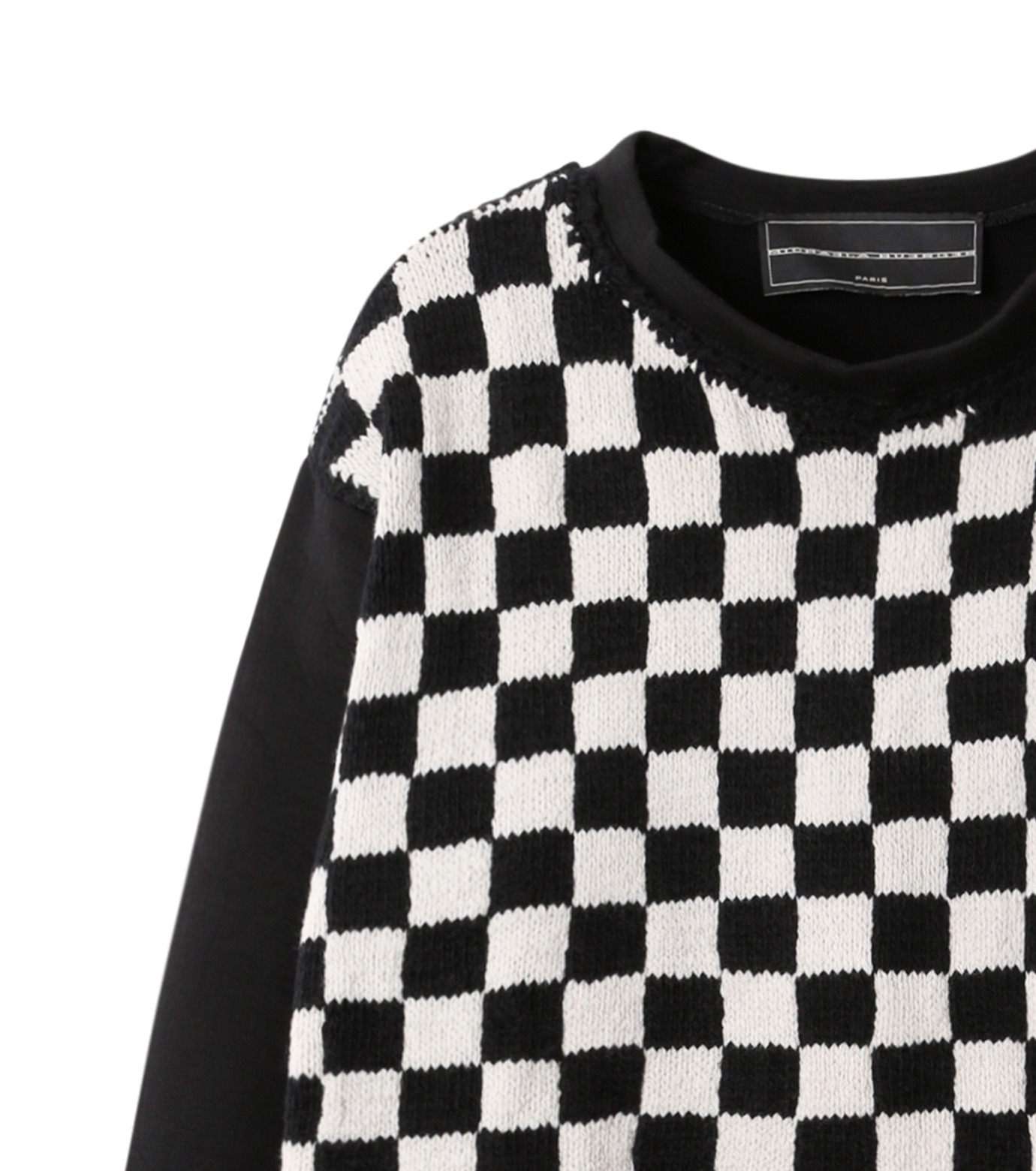 Michaela Buerger(ミカエラ バーガー)のBlock Check Sweatshirt-BLACK(カットソー/cut and sewn)-AMB010-13 拡大詳細画像2