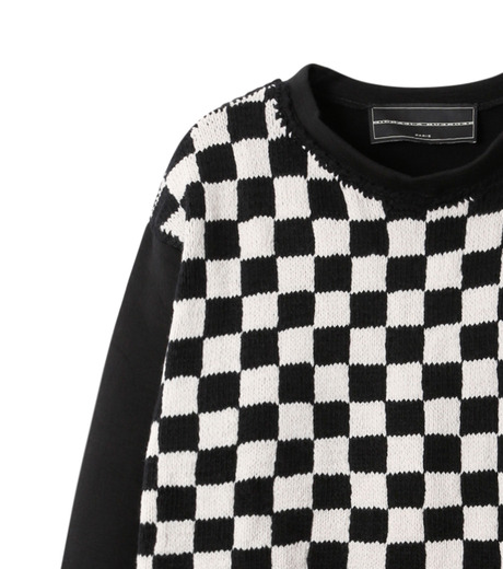 Michaela Buerger(ミカエラ バーガー)のBlock Check Sweatshirt-BLACK(カットソー/cut and sewn)-AMB010-13 詳細画像2