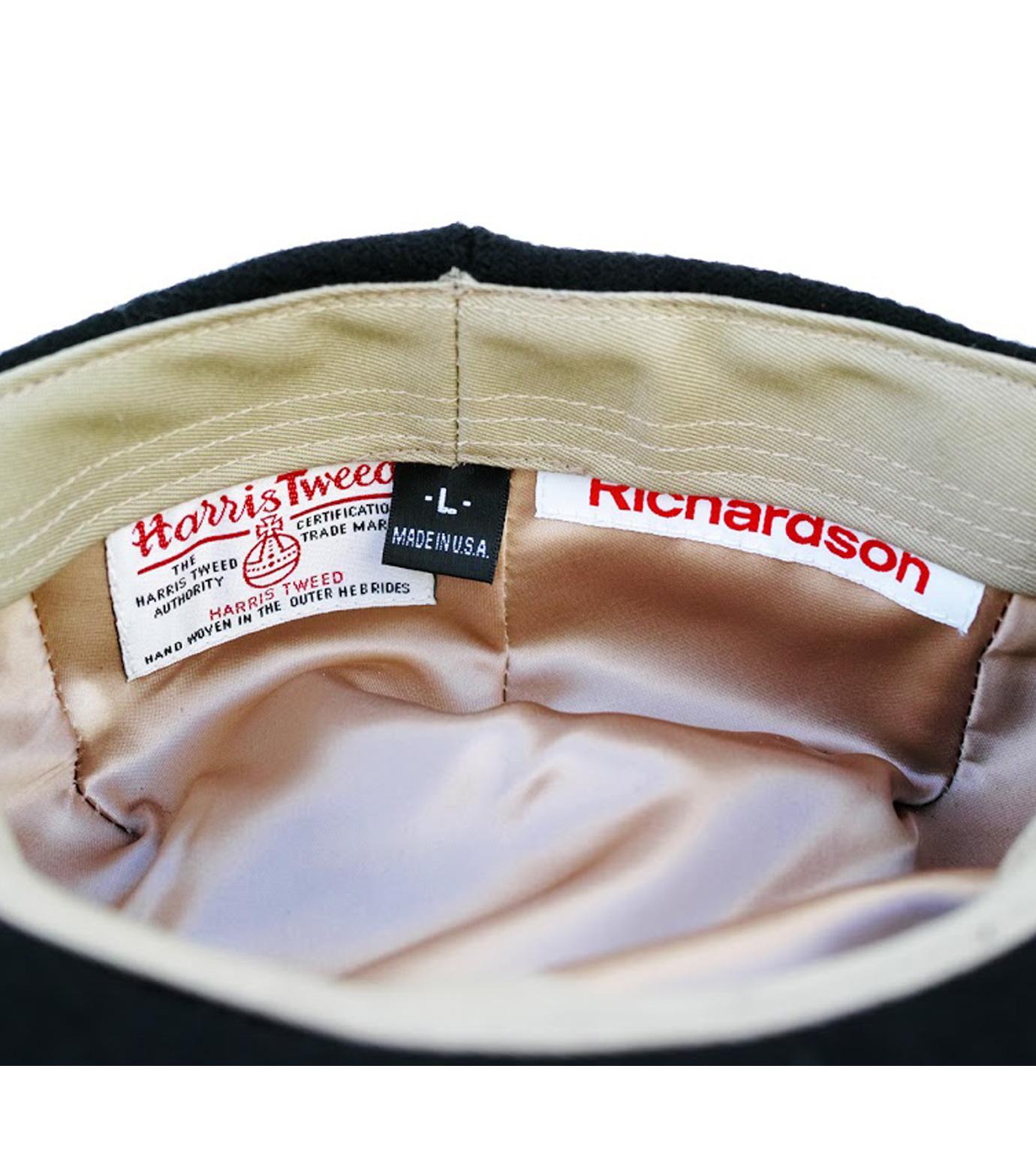 Richardson Magazine(リチャードソン マガジン)のHarris Tweed Flat Cap-BLACK(キャップ/cap)-AW16045-13 拡大詳細画像4