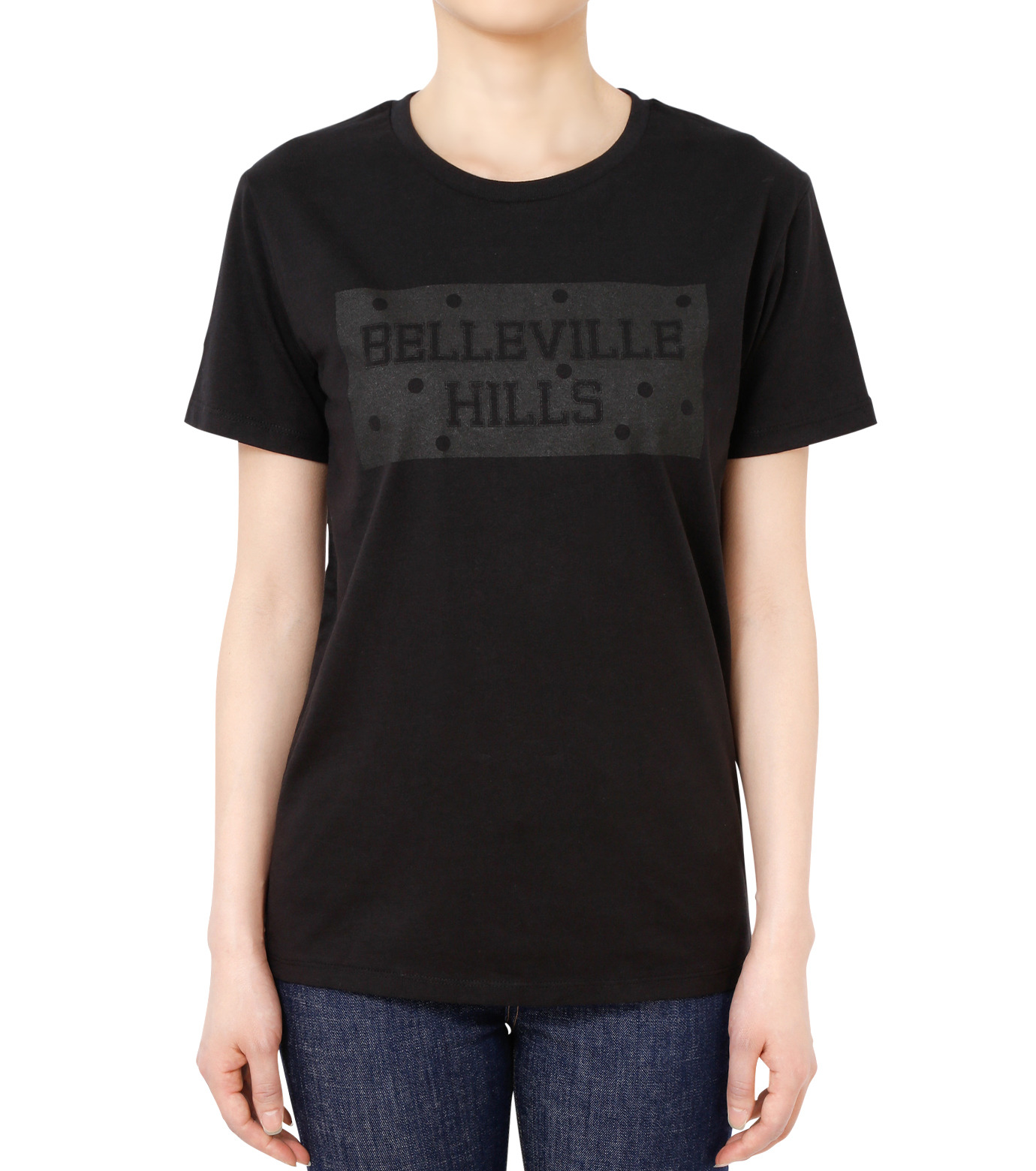 No One(ノーワン)のDots BELLEVILLE HILLS T-shirt-BLACK(カットソー/cut and sewn)-BA525-13 拡大詳細画像1