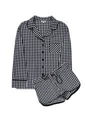 SLEEPER Black Gingham Pajama with Shorts