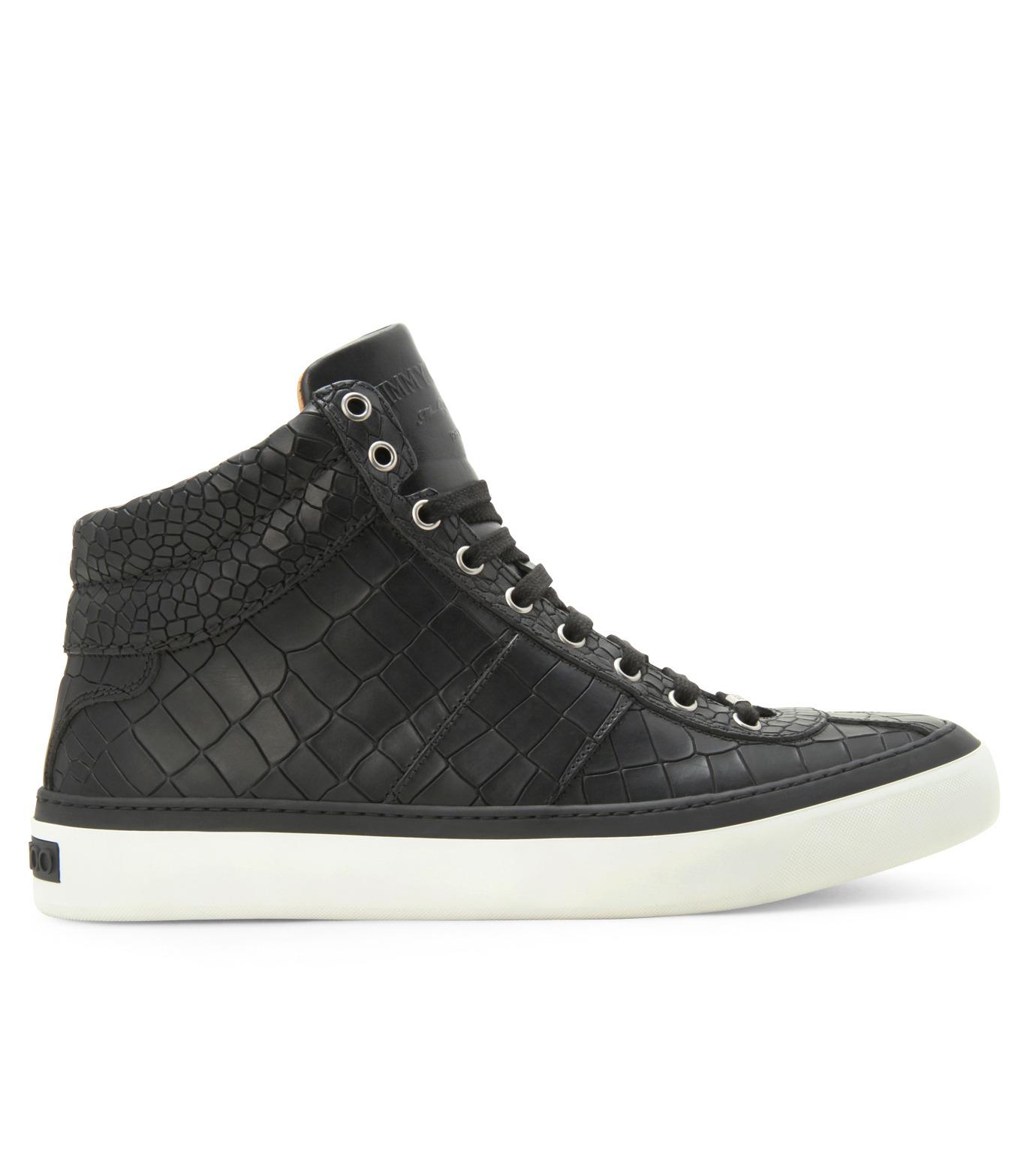 Jimmy Choo(ジミーチュウ)のCroco emboss sneaker-BLACK-BELGRAVI-CCL-13 拡大詳細画像1