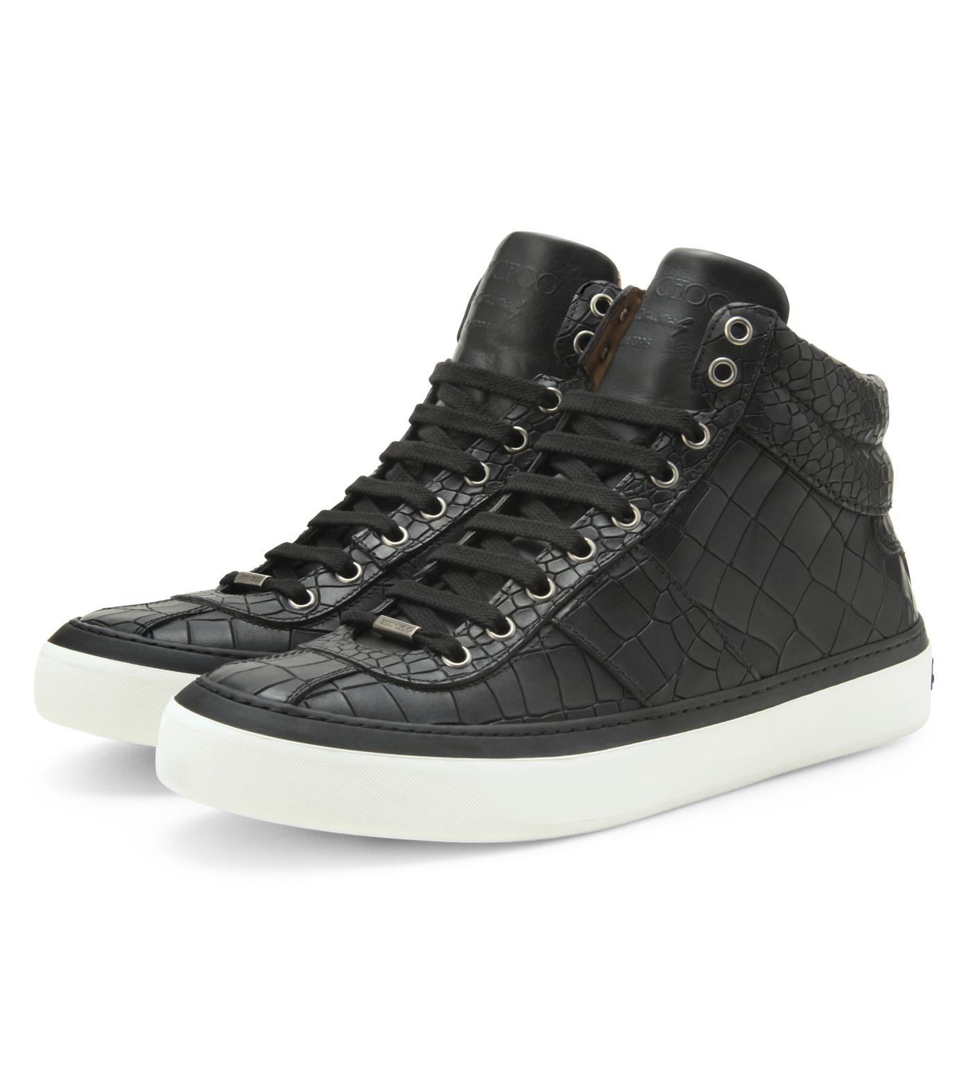 Jimmy Choo(ジミーチュウ)のCroco emboss sneaker-BLACK-BELGRAVI-CCL-13 拡大詳細画像4