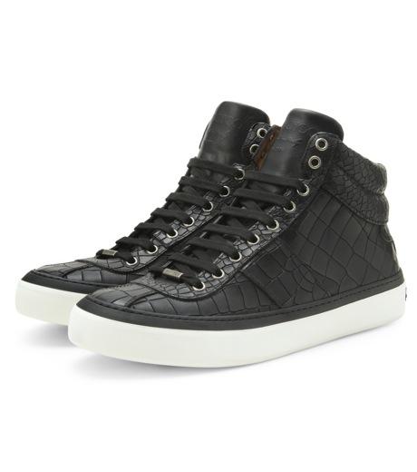 Jimmy Choo(ジミーチュウ)のCroco emboss sneaker-BLACK-BELGRAVI-CCL-13 詳細画像4