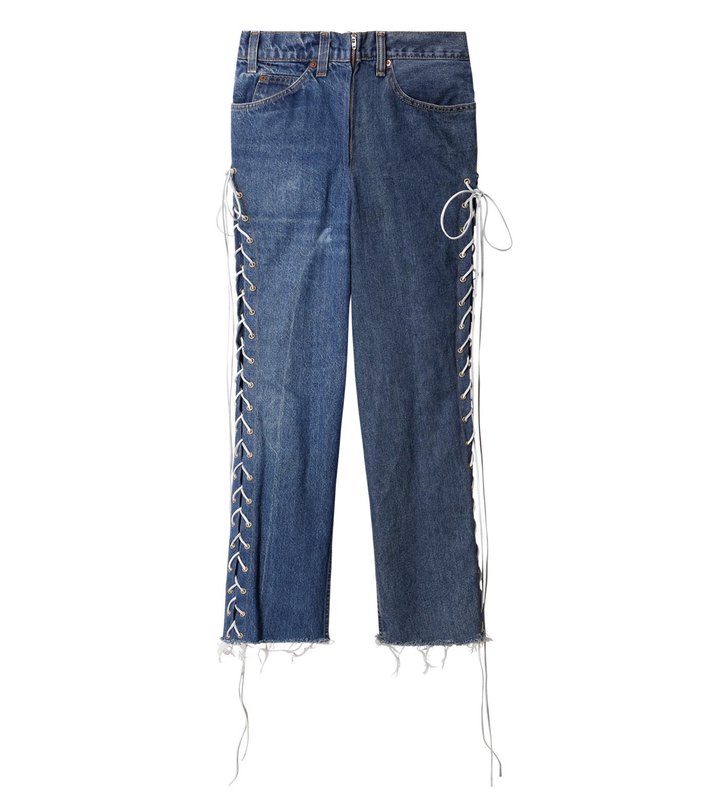 77circa(77サーカ)のCut Back Lace Up Denim Pants-INDIGO(デニム/denim)-CC16AW-46-94 拡大詳細画像1