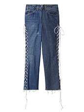 77circa Cut Back Lace Up Denim Pants