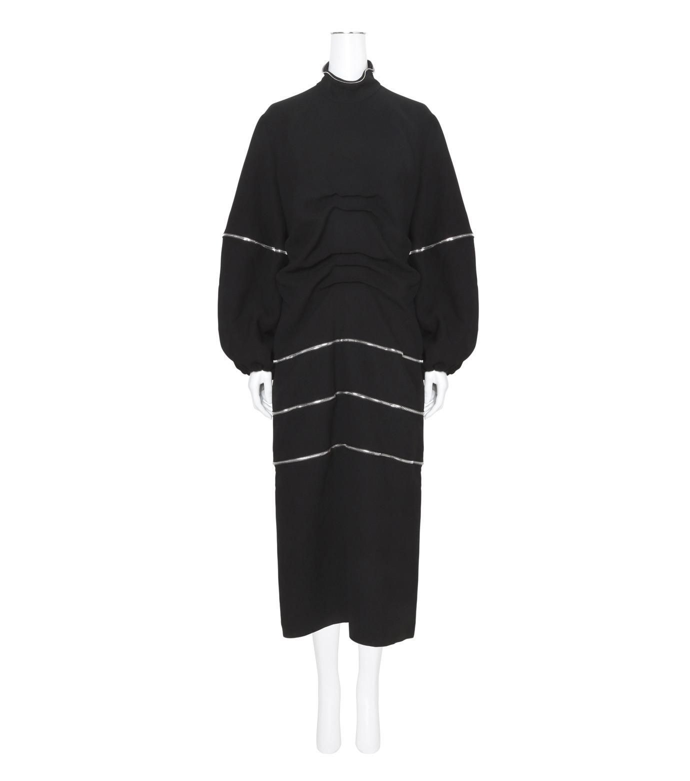 J.W.Anderson(ジェイダブリュー アンダーソン)のGathered Midi Dress-BLACK(ワンピース/one piece)-DR06WP16-13 拡大詳細画像1