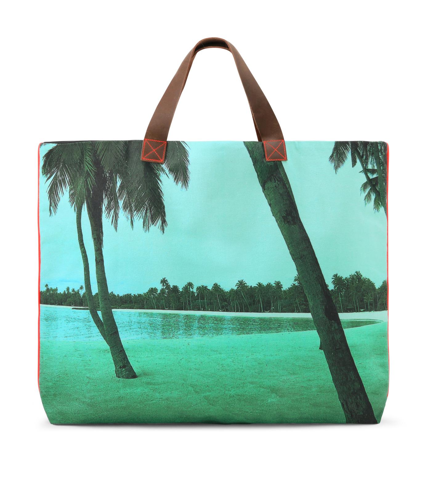 Dezso by Sara Beltran(デッツォバイ サラ ベルトラン)のMaldive aqua single palm tree-BLUE(バッグ/bag)-DT-3-92 拡大詳細画像1