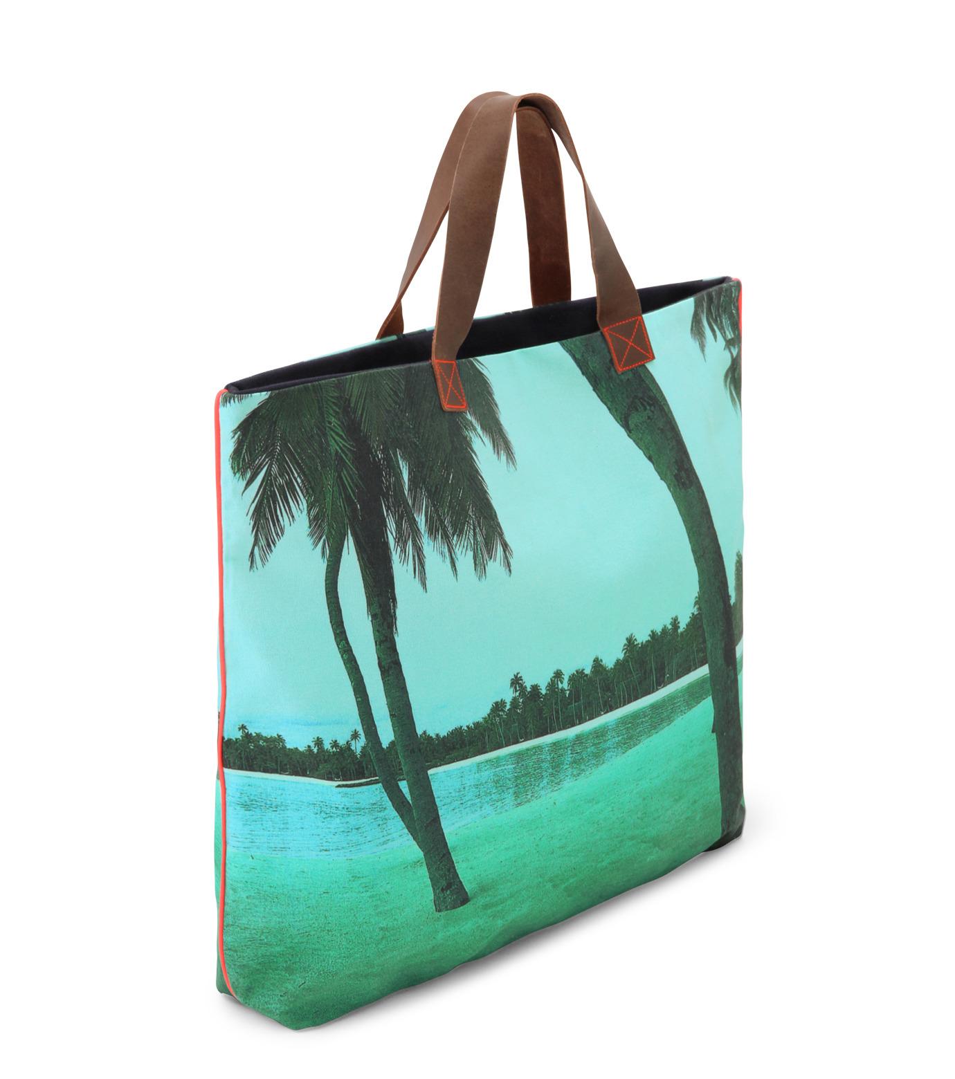 Dezso by Sara Beltran(デッツォバイ サラ ベルトラン)のMaldive aqua single palm tree-BLUE(バッグ/bag)-DT-3-92 拡大詳細画像2