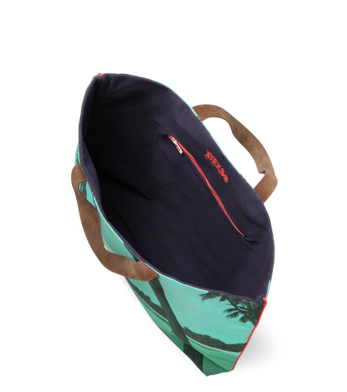 Dezso by Sara Beltran(デッツォバイ サラ ベルトラン)のMaldive aqua single palm tree-BLUE(バッグ/bag)-DT-3-92 拡大詳細画像3