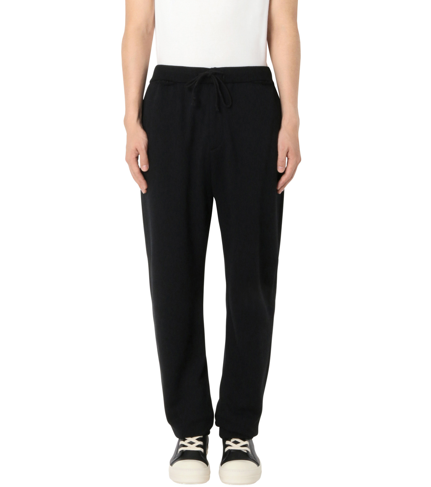DRESSEDUNDRESSED(ドレスドアンドレスド)のDamaged Drawstring Trackpants-BLACK-DUW16352-13 拡大詳細画像1