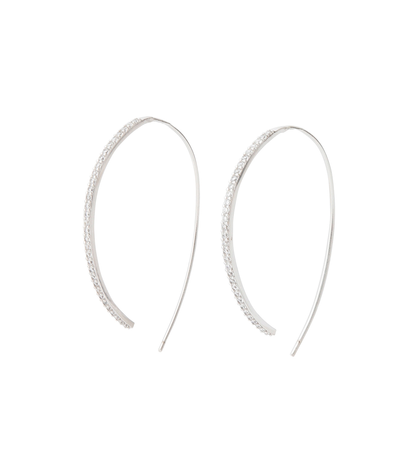 Fallon(ファロン)のPave Threaded Hoops-SILVER-FE11626-1 拡大詳細画像1