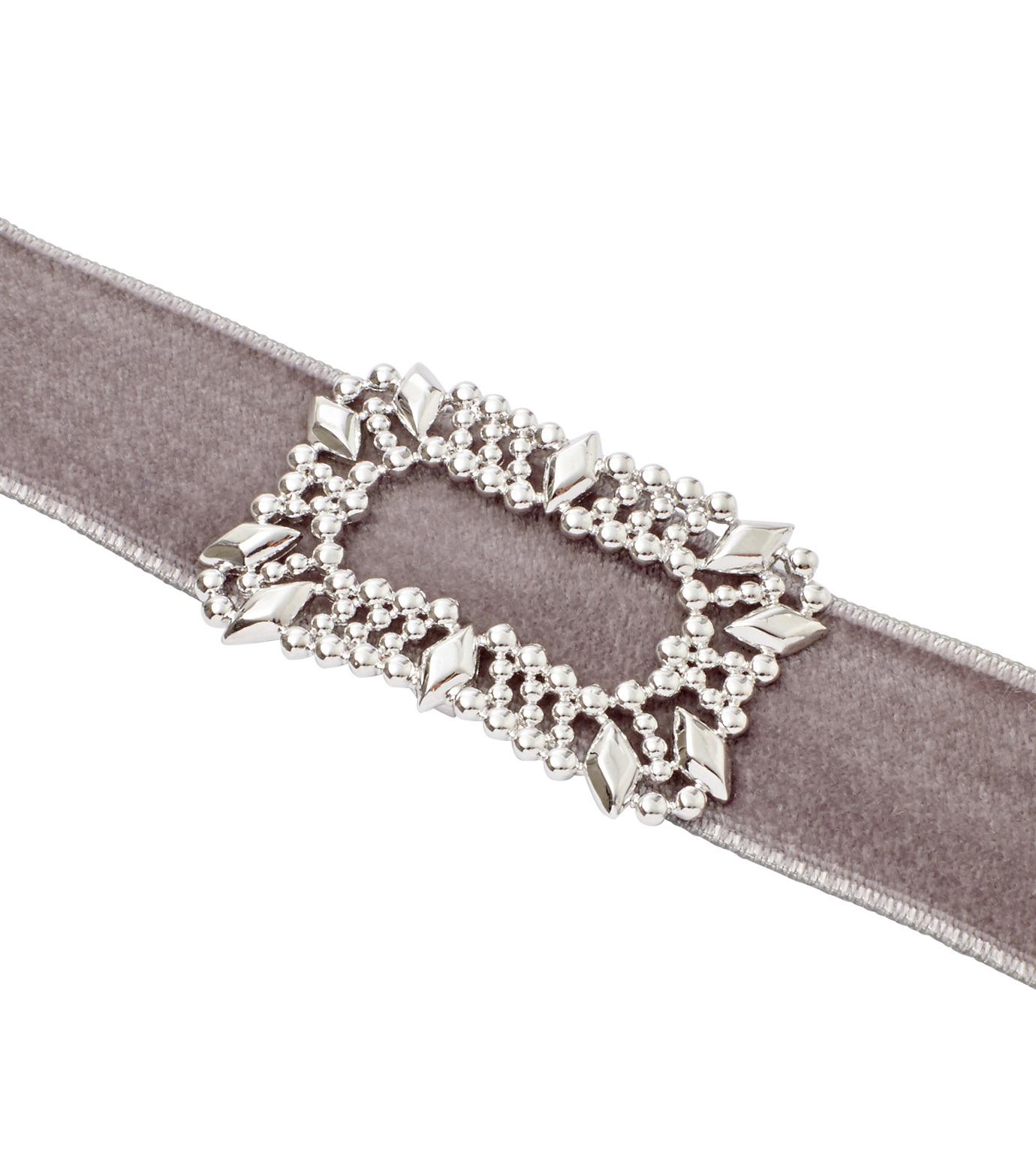 Fallon(ファロン)のToria Buckle Velvet Choker-GRAY(ネックレス/necklace)-FN21666-11 拡大詳細画像3