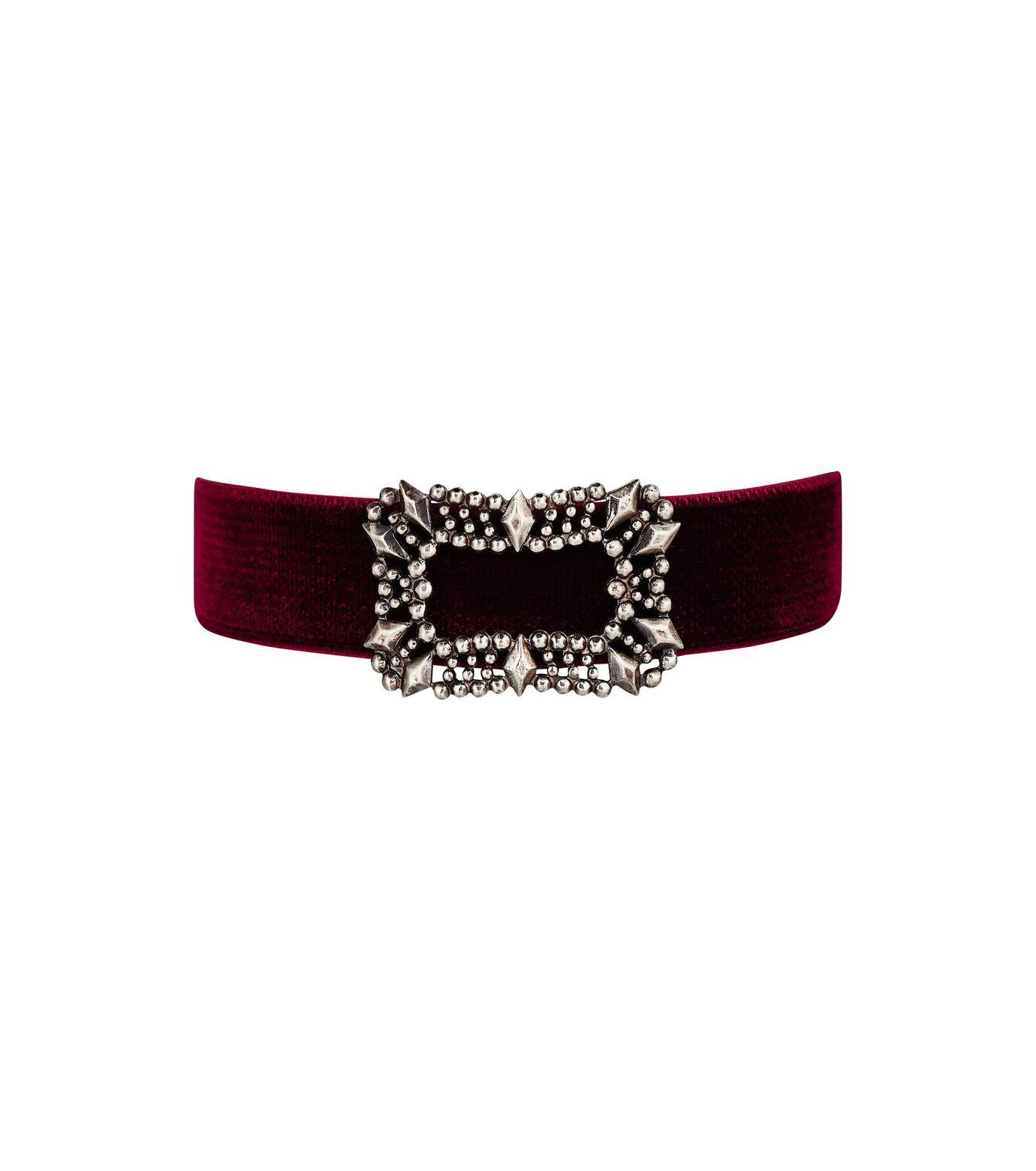Fallon(ファロン)のToria Buckle Velvet Choker-BORDEAUX(ネックレス/necklace)-FN21666-63 拡大詳細画像1
