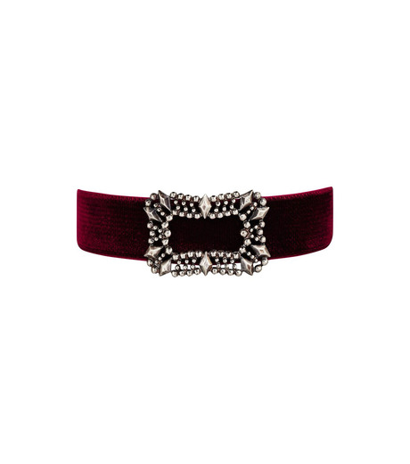 Fallon(ファロン)のToria Buckle Velvet Choker-BORDEAUX(ネックレス/necklace)-FN21666-63 詳細画像1
