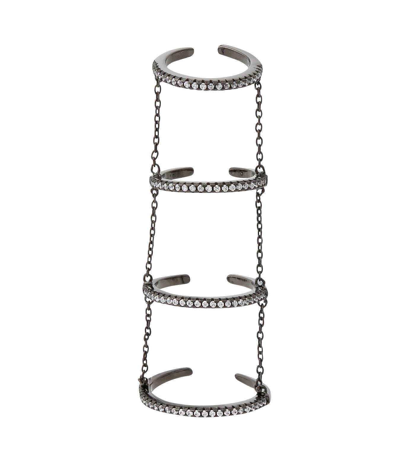 Fallon(ファロン)の4 Tier Pave Slice Rings-GUNMETAL(リング/ring)-FR11515-6 拡大詳細画像1