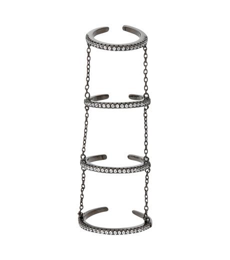 Fallon(ファロン)の4 Tier Pave Slice Rings-GUNMETAL(リング/ring)-FR11515-6 詳細画像1