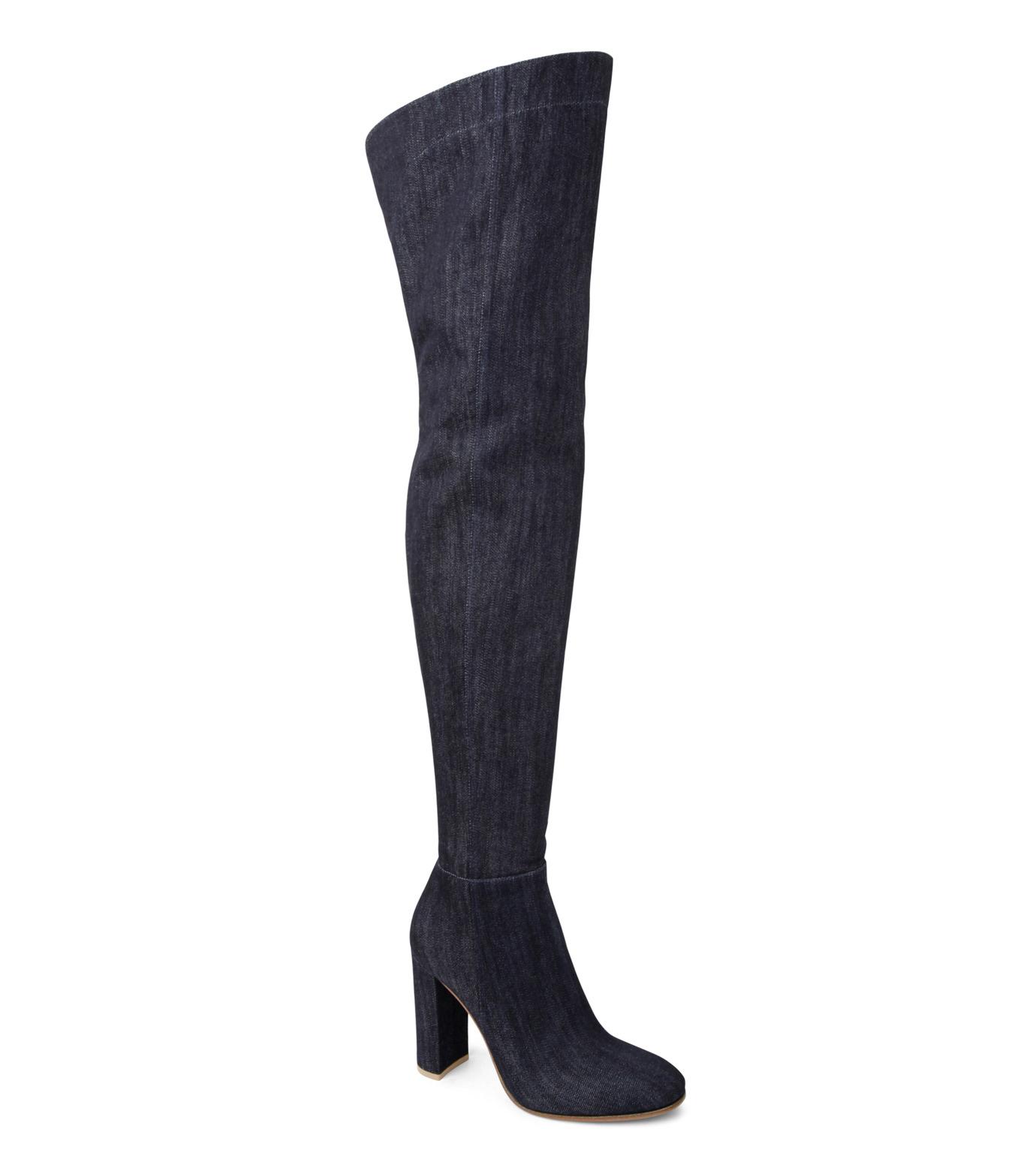 Gianvito Rossi(ジャンヴィト ロッシ)のDenim Over the Knee Boots-INDIGO(ブーツ/boots)-G80806-94 拡大詳細画像1