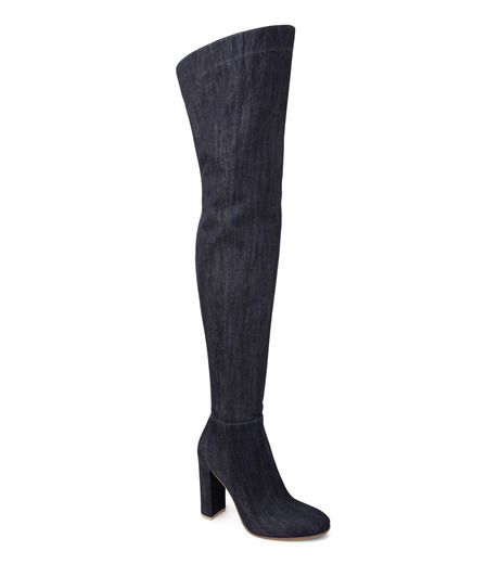 Gianvito Rossi(ジャンヴィト ロッシ)のDenim Over the Knee Boots-INDIGO(ブーツ/boots)-G80806-94 詳細画像1