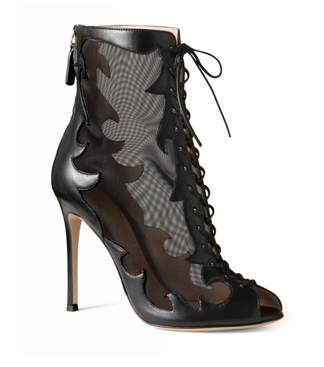 Gianvito Rossi(ジャンヴィト ロッシ)のWestern Sheer Lace Up Boots-BLACK(シューズ/shoes)-GQ50205-13 詳細画像1