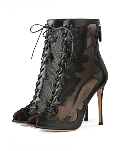 Gianvito Rossi(ジャンヴィト ロッシ)のWestern Sheer Lace Up Boots-BLACK(シューズ/shoes)-GQ50205-13 詳細画像3