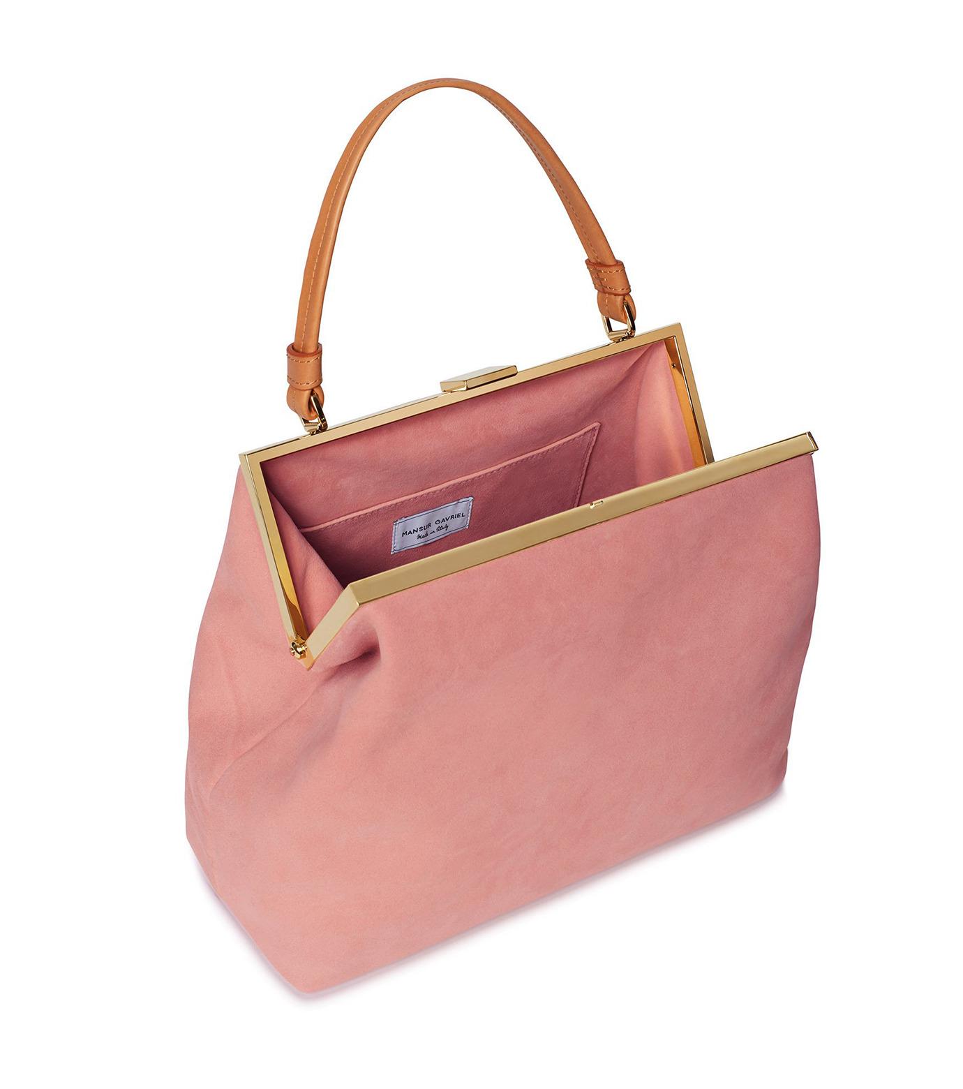 Mansur Gavriel(マンサーガブリエル)のsuede elegant bag-LIGHT PINK(ハンドバッグ/hand bag)-HEB024SU-71 拡大詳細画像3