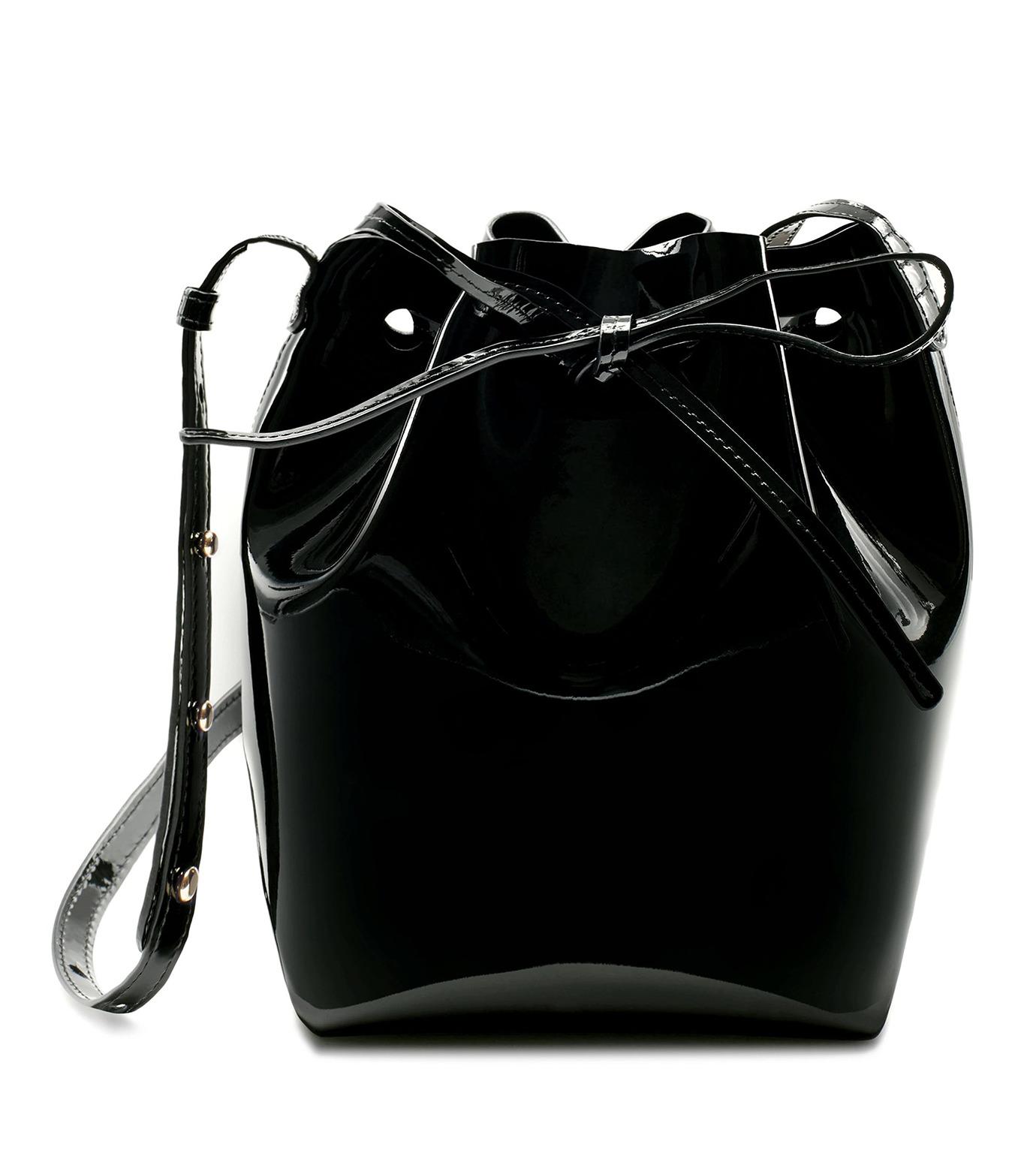 Mansur Gavriel(マンサーガブリエル)のpatent mini bucket bag-BLACK(ハンドバッグ/hand bag)-HMB004PA-13 拡大詳細画像1