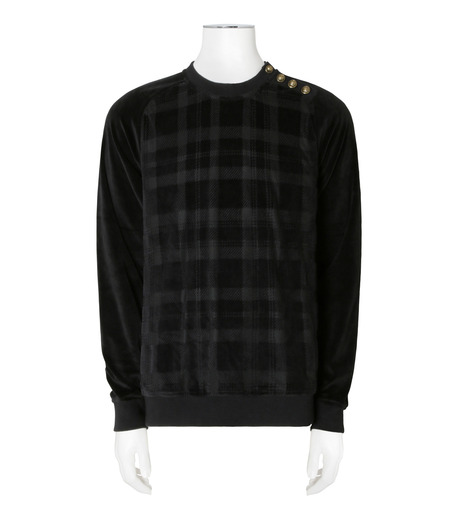 Balmain(バルマン)のTartancheck Velour Sweat-BLACK(カットソー/cut and sewn)-J80-D623-13 詳細画像1