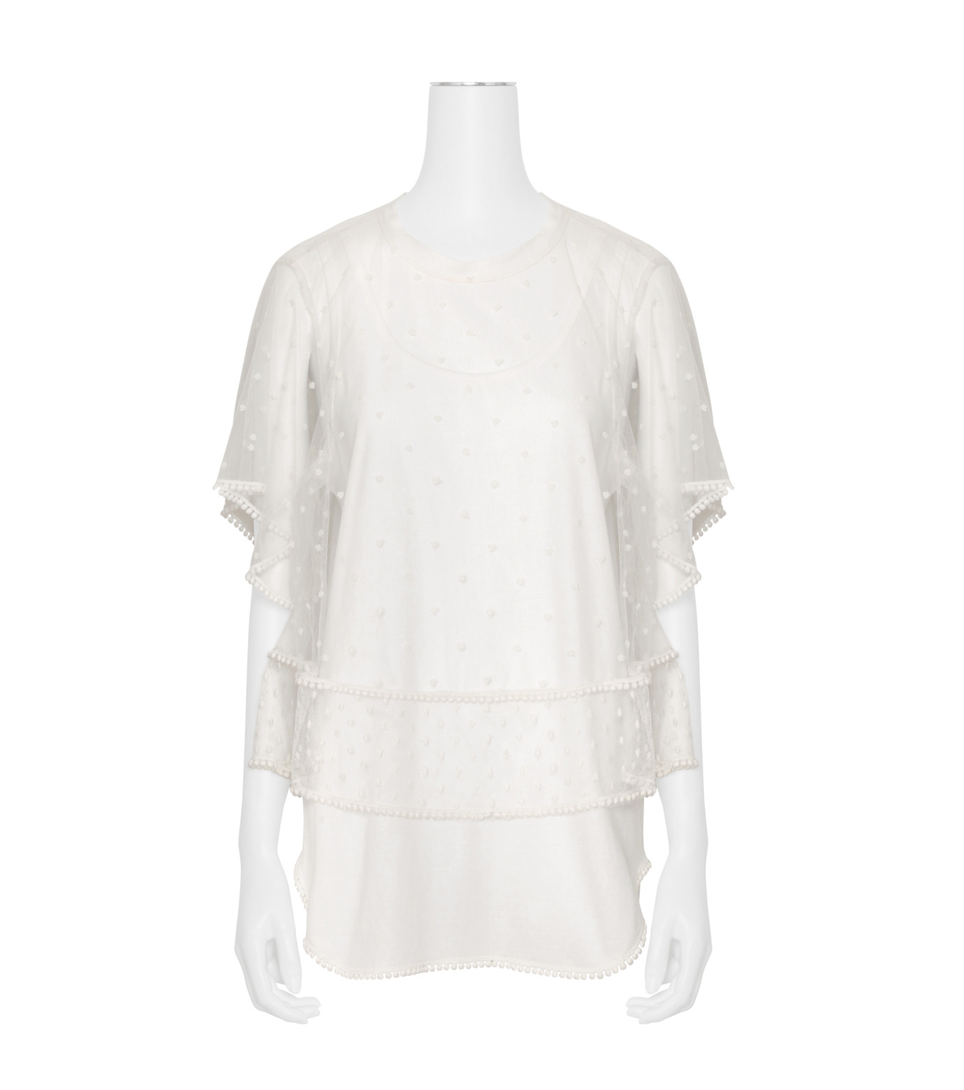 Chloe(クロエ)のdot lace t-shirt-WHITE(カットソー/cut and sewn)-JH12080B-4 拡大詳細画像1