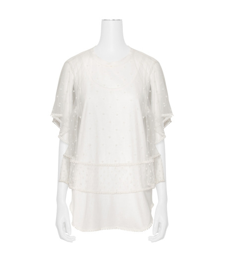 Chloe(クロエ)のdot lace t-shirt-WHITE(カットソー/cut and sewn)-JH12080B-4 詳細画像1