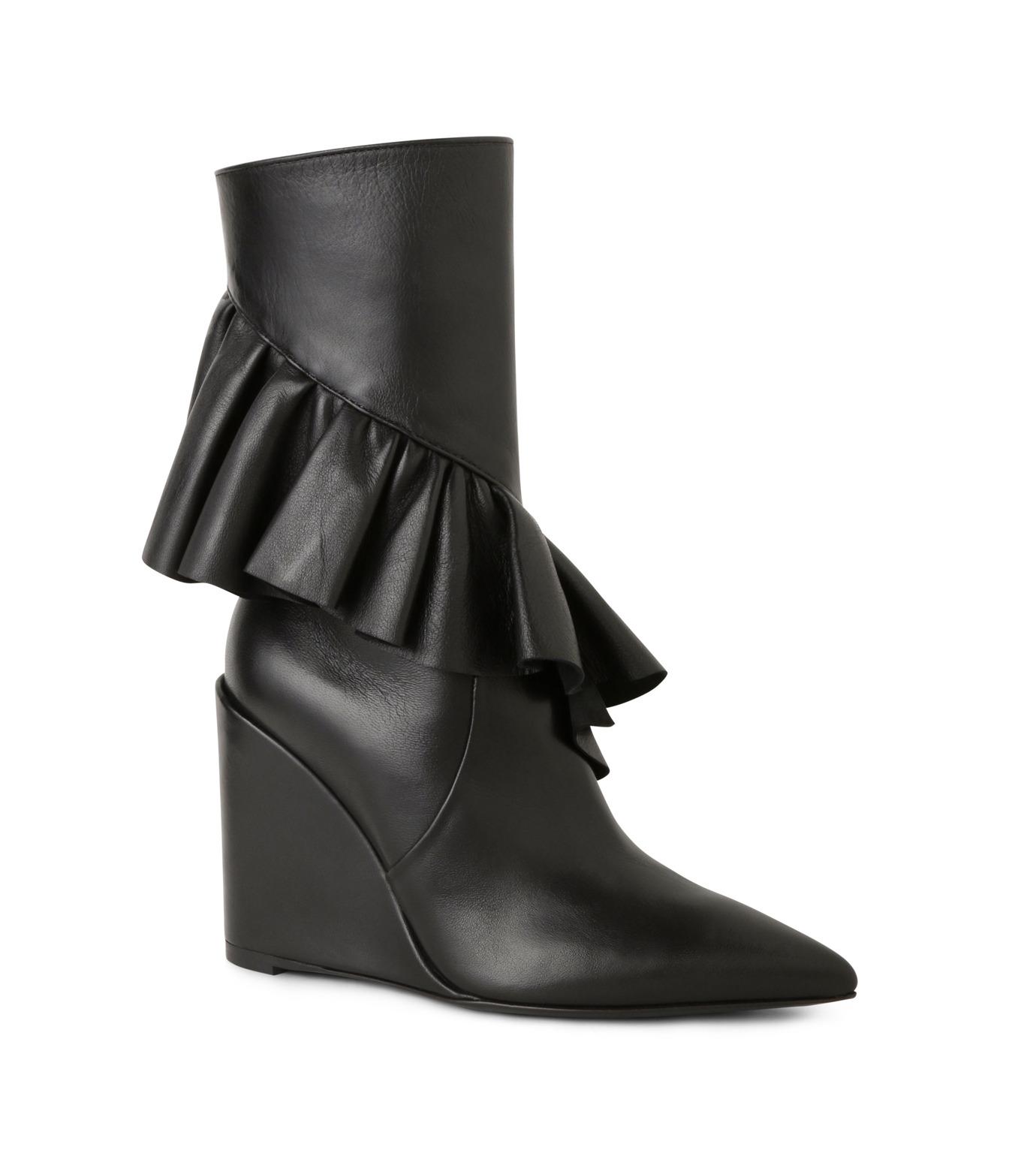 J.W.Anderson(ジェイダブリュー アンダーソン)のMid Calf Ruffle Boot-BLACK(ブーツ/boots)-JWAFW03C-13 拡大詳細画像1