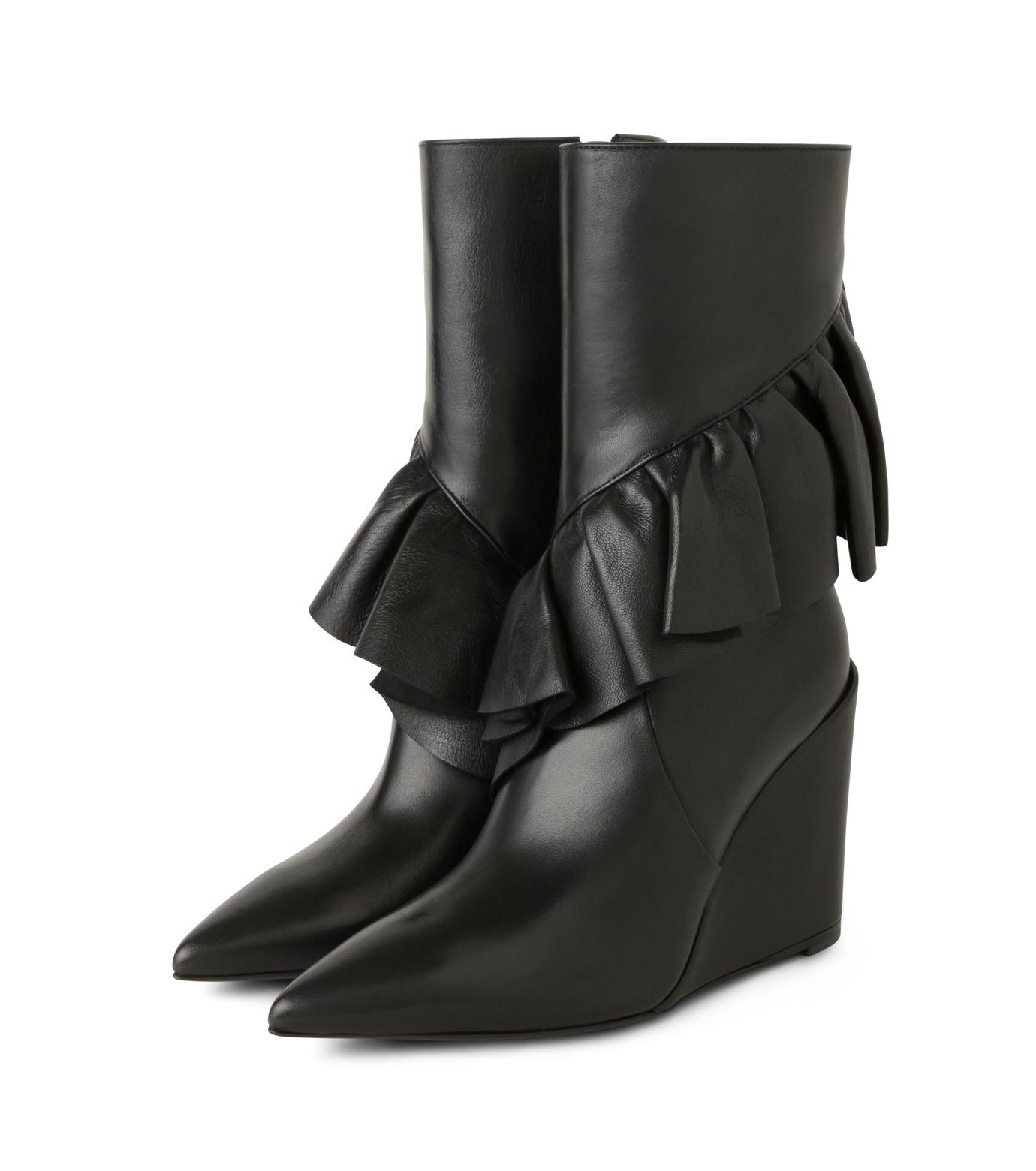 J.W.Anderson(ジェイダブリュー アンダーソン)のMid Calf Ruffle Boot-BLACK(ブーツ/boots)-JWAFW03C-13 拡大詳細画像3