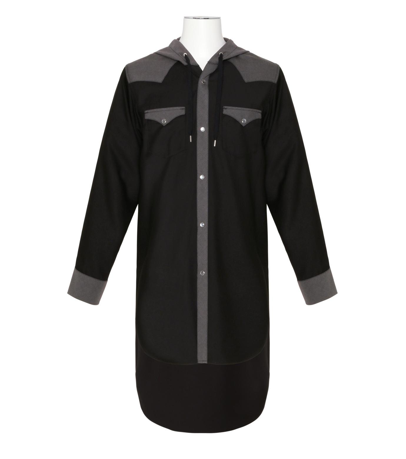 KIDILL(キディル)のWestern Hooded Shirt-BLACK(シャツ/shirt)-KL160-13 拡大詳細画像1