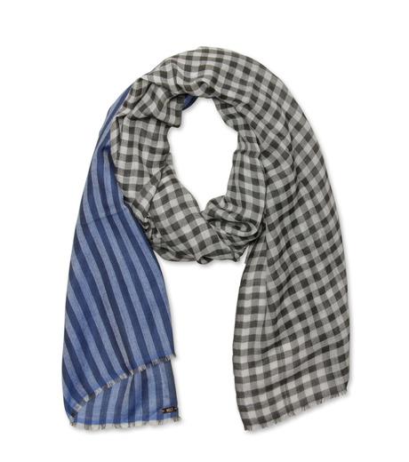 Melt(メルト)のCheck stripe stole-BLUE(ストール/stole)-KRISHNA-92 詳細画像1