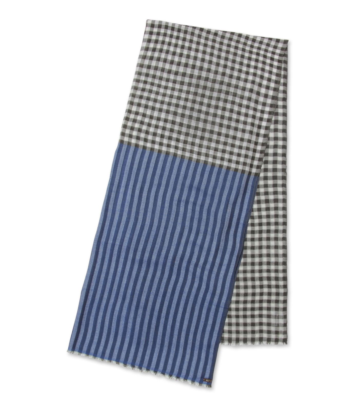 Melt(メルト)のCheck stripe stole-BLUE(ストール/stole)-KRISHNA-92 拡大詳細画像2