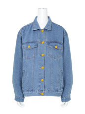 Ksenia Schnaider(クセニア・シュナイダー) D.Blue Denim Jacket w/Yellow Letters