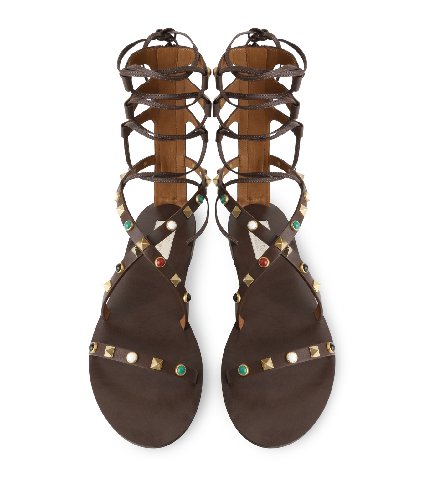 VALENTINO(ヴァレンティノ)のRockstuds Lace Up Flat Multi-BROWN(フラットシューズ/Flat shoes)-KW0S0021VQM-42 拡大詳細画像4