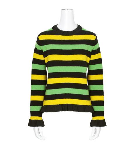 J.W.Anderson(ジェイダブリュー アンダーソン)のStriped Boucle Sweater-GREEN(ニット/knit)-KW11-22 詳細画像1