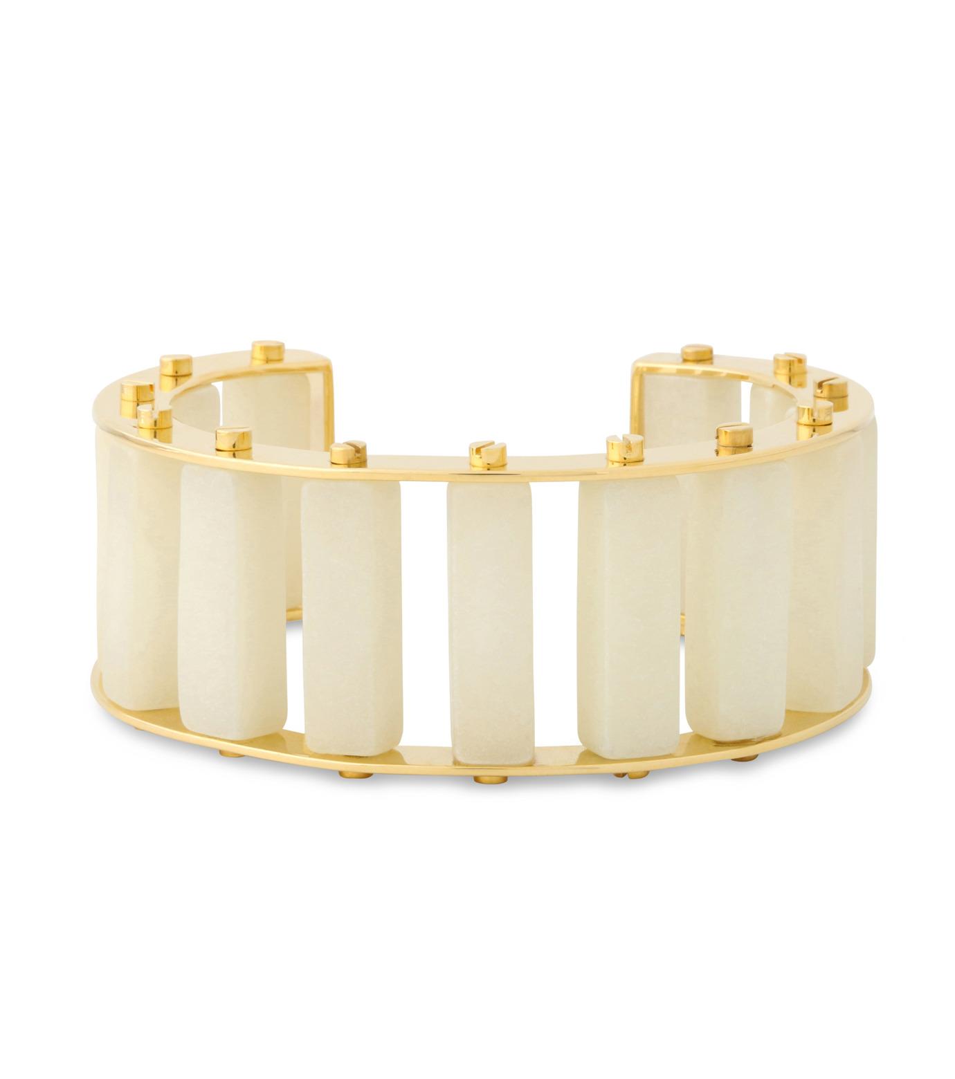Lele Sadoughi(レレ・サドイ)のStone Column Slinder Bangle-WHITE(ブレスレット/bracelet)-LS0272SD-5 拡大詳細画像1