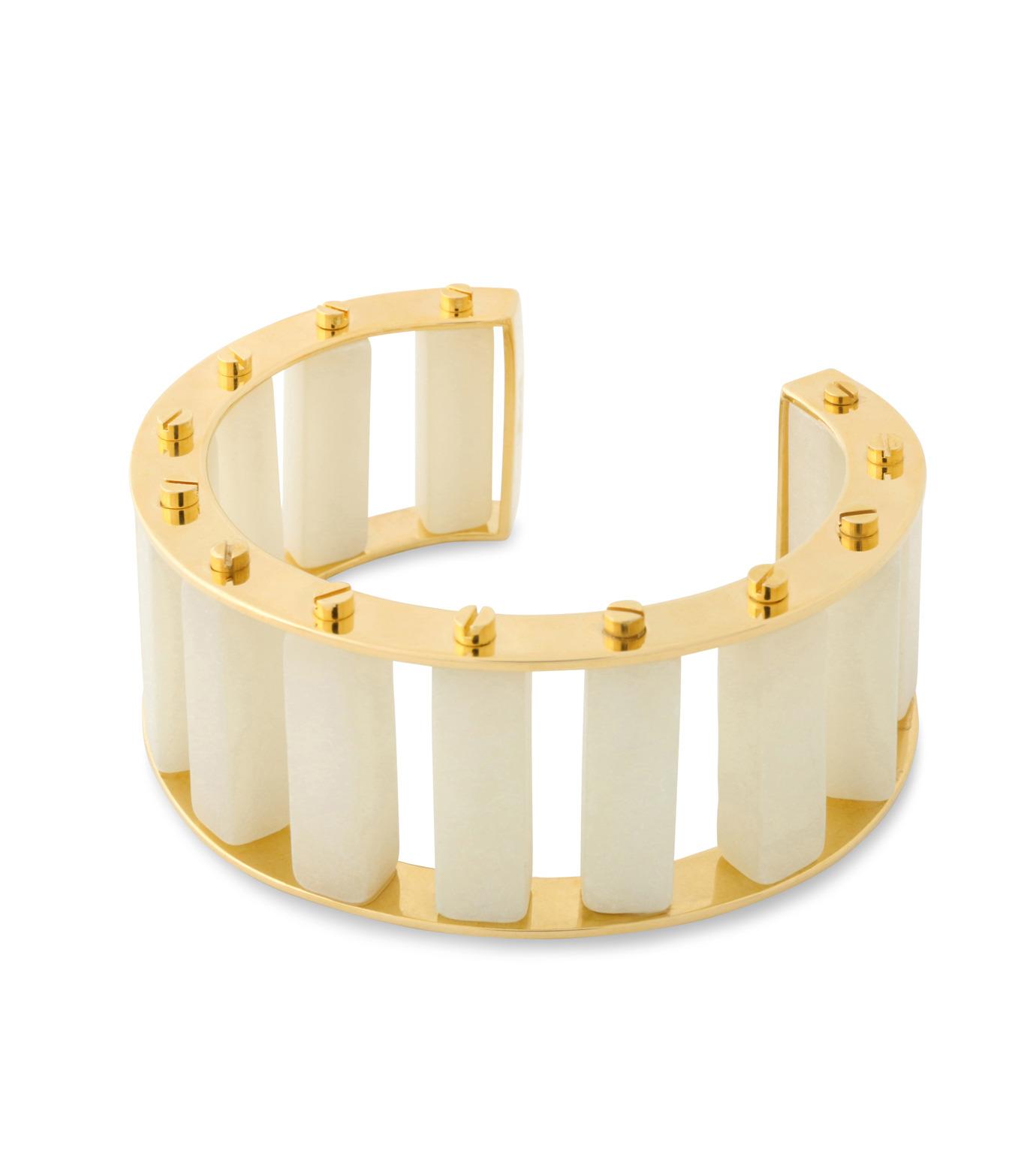 Lele Sadoughi(レレ・サドイ)のStone Column Slinder Bangle-WHITE(ブレスレット/bracelet)-LS0272SD-5 拡大詳細画像2