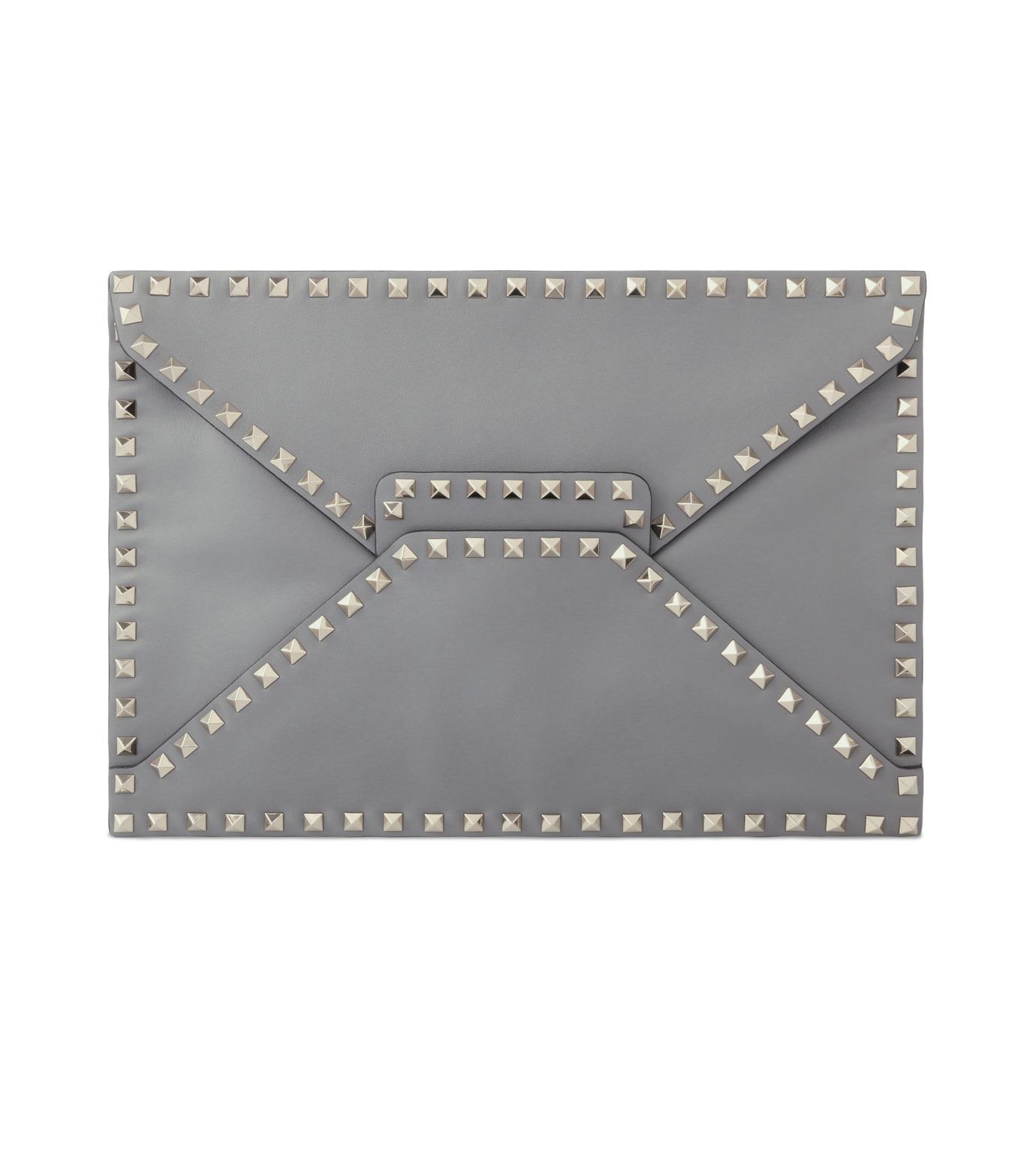 VALENTINO GARAVANI(ヴァレンティノ ガラヴァーニ)のRockstuds Envelop Clutch-GRAY(クラッチバッグ/clutch bag)-LW2B0100BOL-11 拡大詳細画像1